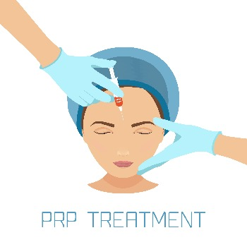 caricature of woman's face with doctor's hands injecting PRP treatment